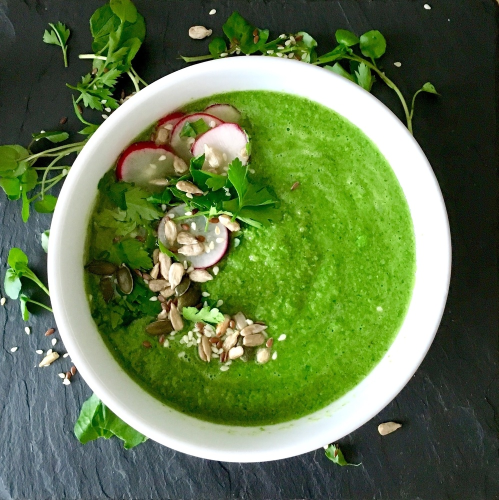 Watercress, Pea and Mint Soup - Eating in Season This May - Cooking with Watercress